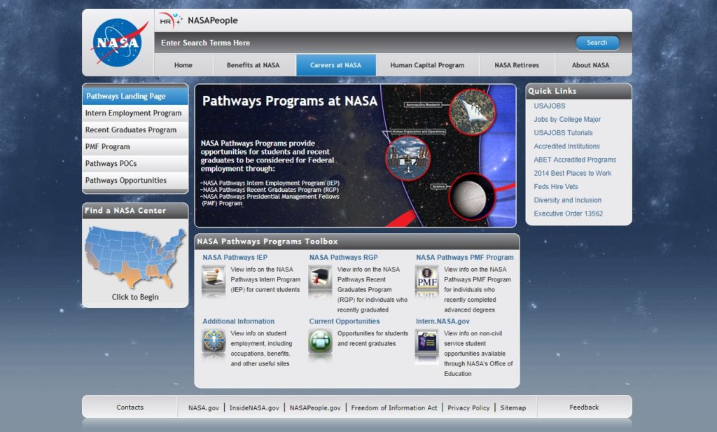 Website Preview - NASA Pathways Program