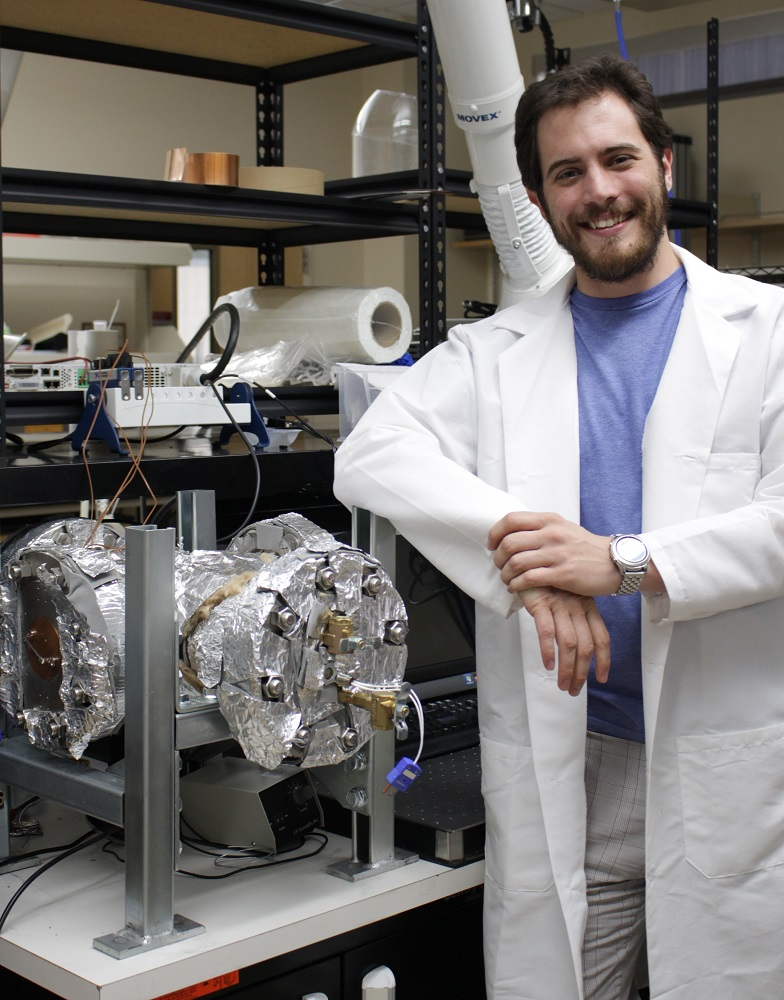 Blake Naccarto poses with the PC-HEX apparatus